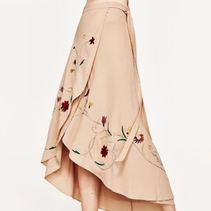 Zara Embroidered Wraparound Skirt